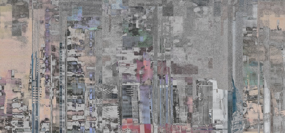 "Gray City, Photo Composite, Archival Pigment Print, 12""x25.6"""
