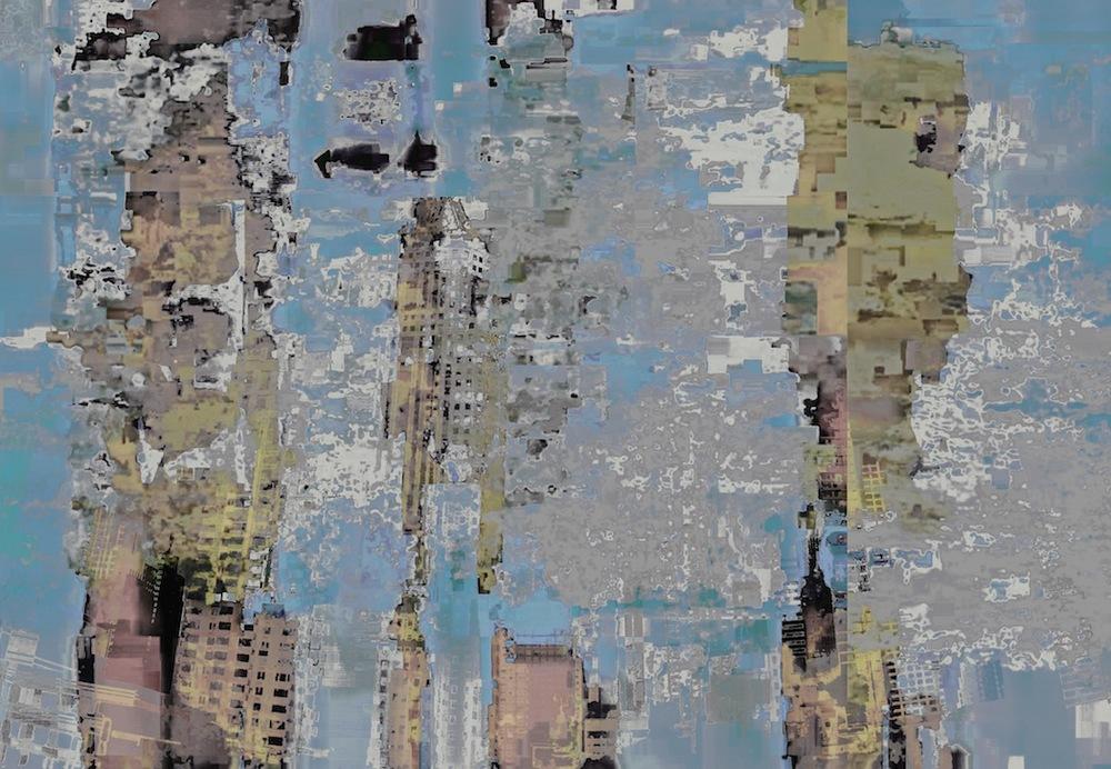 "Buildings & Sky, Photo Composite, UV Ink on Acrylic, 10.08""x14.5"""