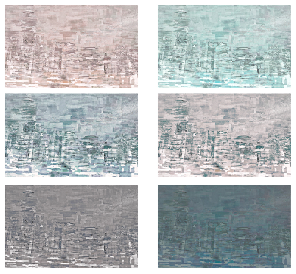 "Impressions:  Light #1-6, UV ink on acrylic, 6""x10"" each"