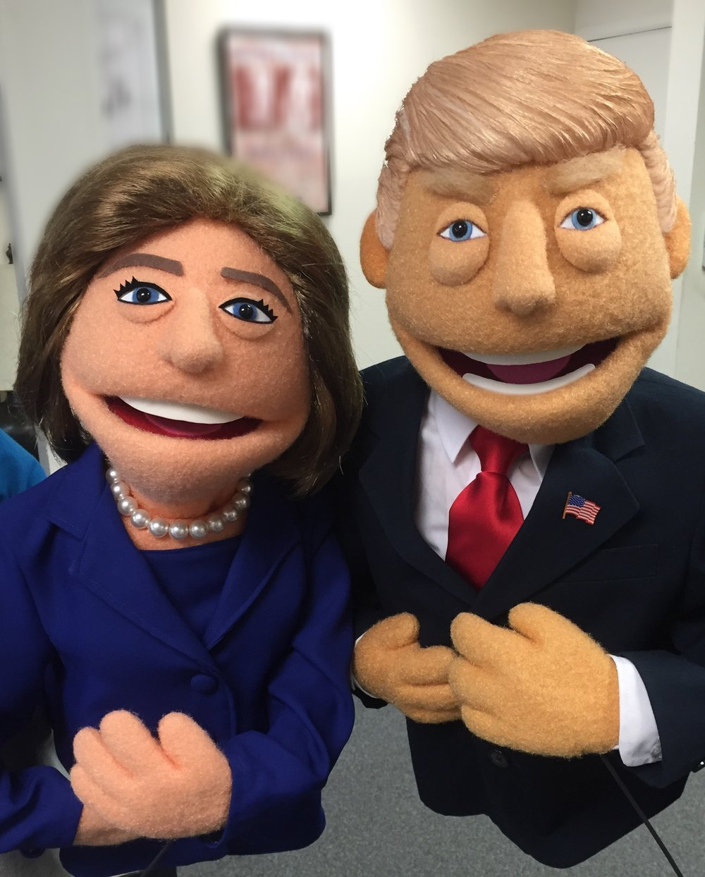 Secretary of State Hillary Clinton and Businessman Donald Trump, as represented by the puppetry team behind the hit Broadway musical Avenue Q. Puppets created for a mock presidential debate by Rick Lyon.