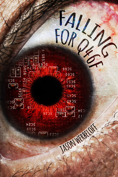 Science fiction book cover for Jason Werbeloff's sci-fi thriller short story. Our premade cover design shows an eye with circuitry added to the iris. We can also customise any of our premade book covers.
