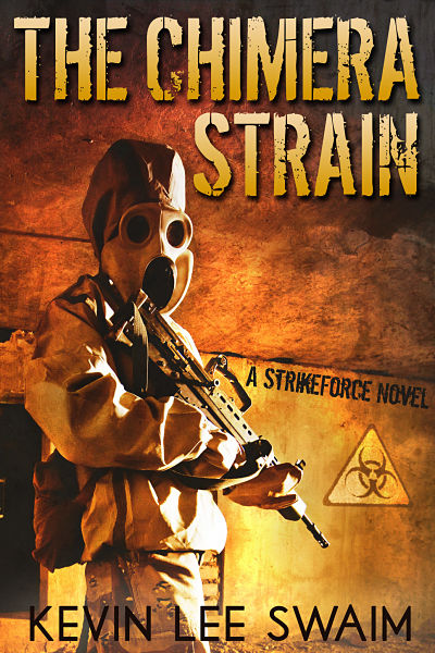 Dystopian thriller premade ebook cover design. The Chimera Strain is the second book in his apocalypse series. This book is available in both ebook and print.