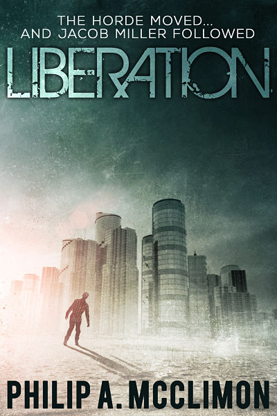Zombie premade book cover design for author Philip A. Mcclimon. LIberation's cover shows the aftermath of a zombie apocalypse. His horror ebook is currently available for Kindle.