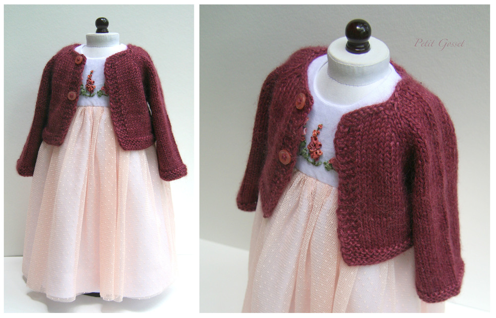 "Baby alpaca and silk cardigan, designed to complement her special dress. Made to fit an 18"" doll."