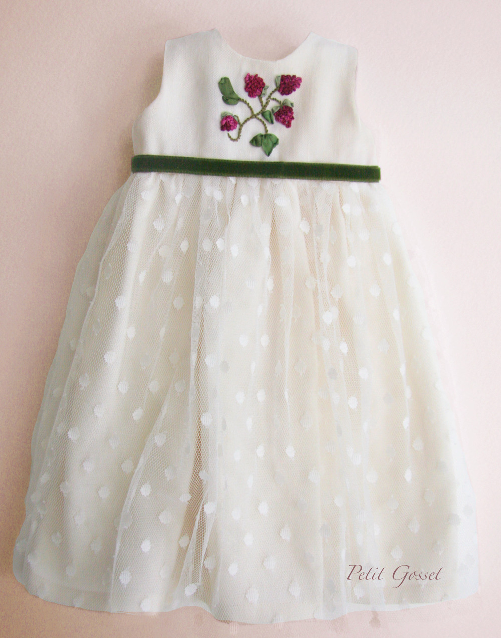 White linen and tulle dress...