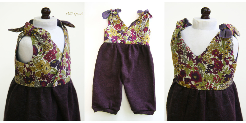"Liberty print and linen overalls, made to fit a 20"" doll"