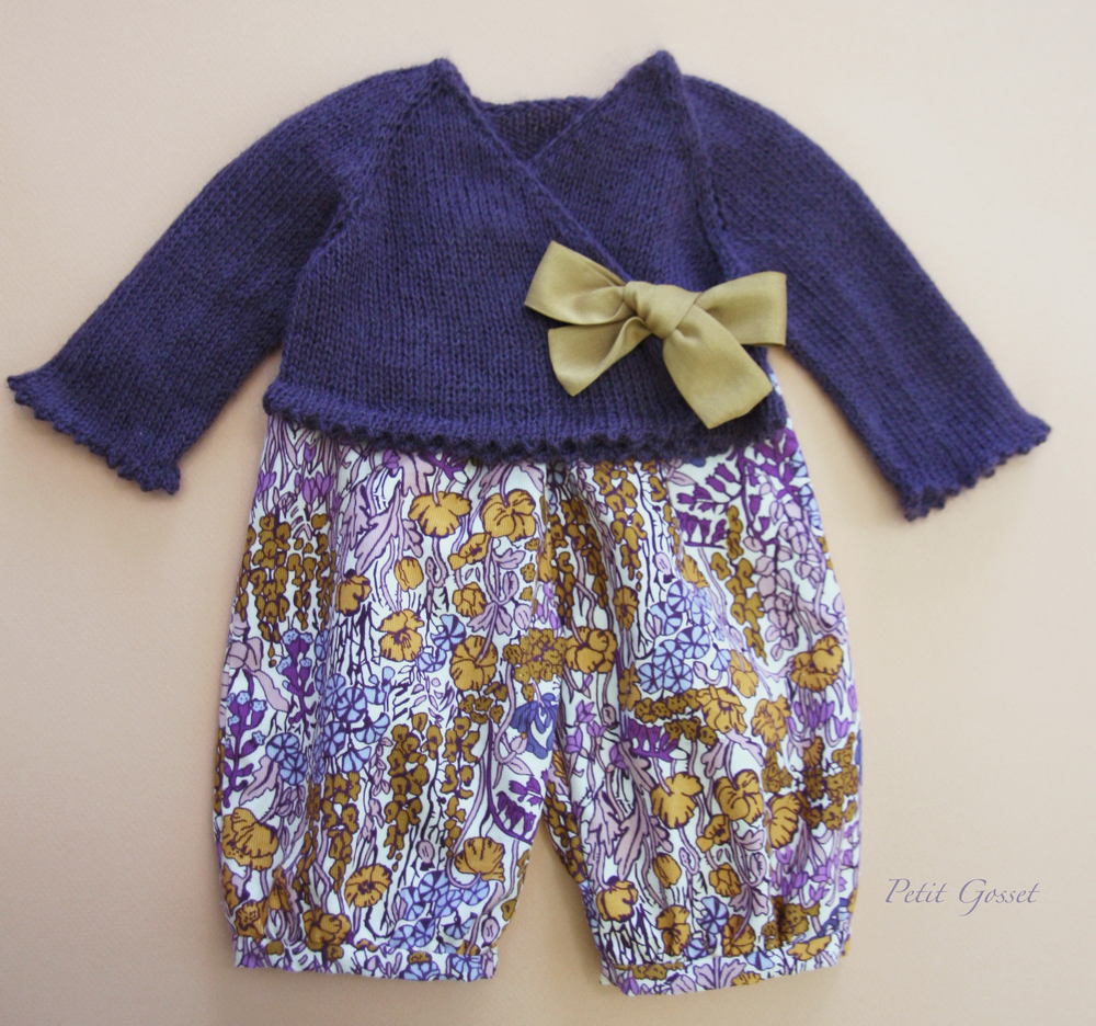 Liberty of London corduroy overalls + baby alpaca/cashmere/silk cardigan with silk bow