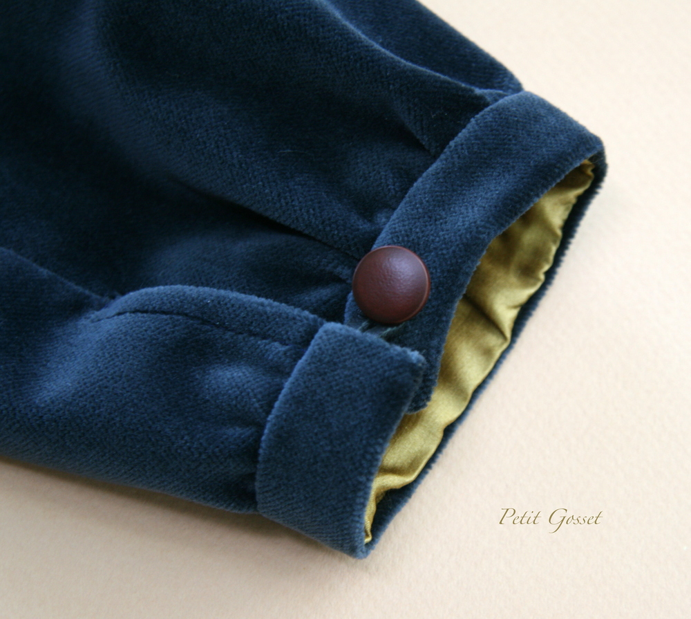 Silky soft vintage French cotton velvet + leather buttons + silk