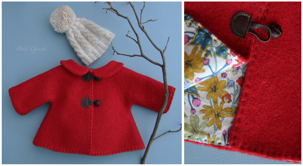 "Fully lined (with Liberty of London cotton) alpaca coat with leather buttons and a hand-knitted baby alpaca hat. Will fit 18-20"" doll."