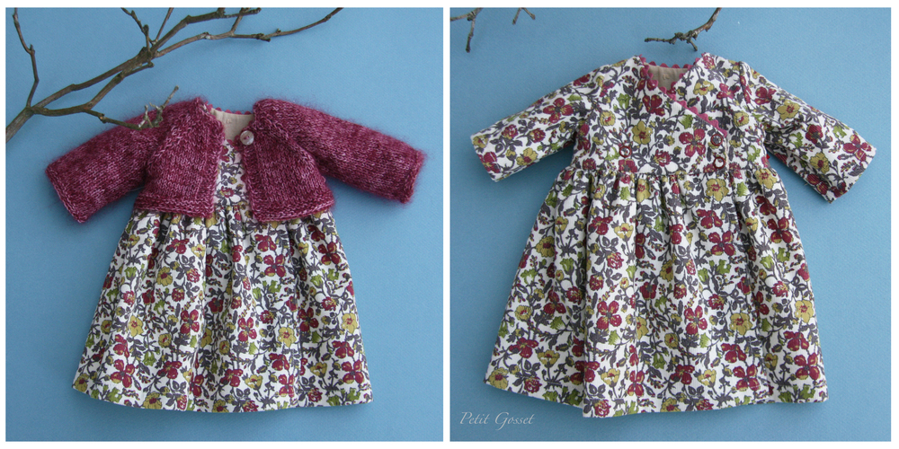"A wrap-over style dress made with a Liberty of London corduroy and a hand-knitted silk/mohair cardigan. Will fit a 16"" doll."