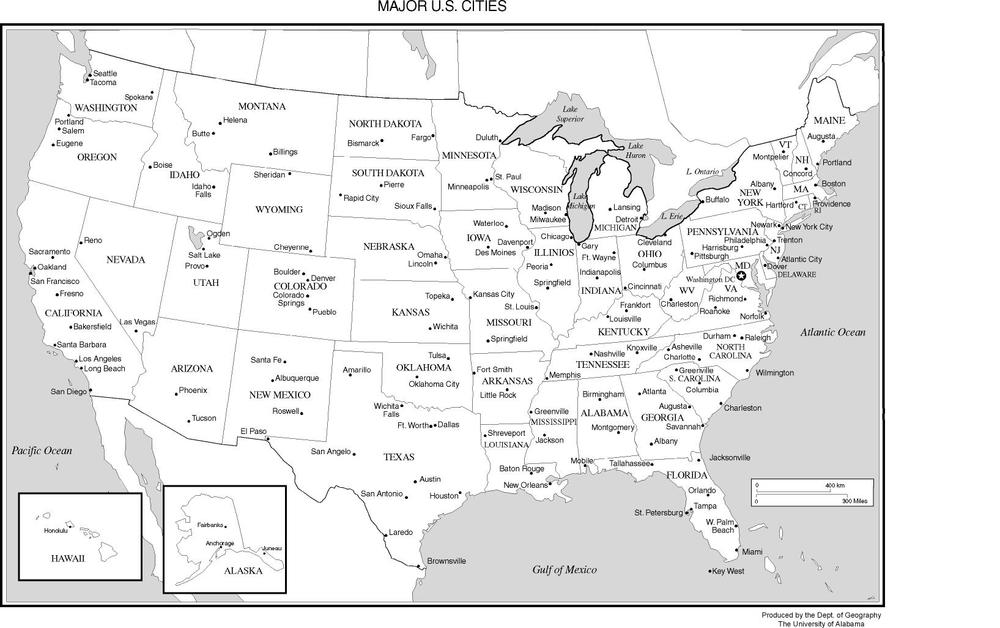 USA Map With Capital Cities Major Cities Labels Stock Image US - Us map with important cities