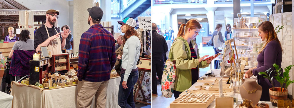 left : Shamus of  Real.Soaps  talks soap with shoppers //   right : Michelle of  Michelle Starbuck Designs  completing a sale with a happy customer