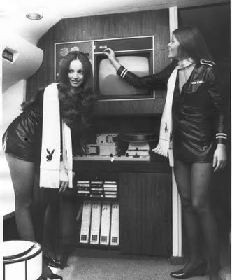 Two of the four stewardesses, aka Jet Bunnies