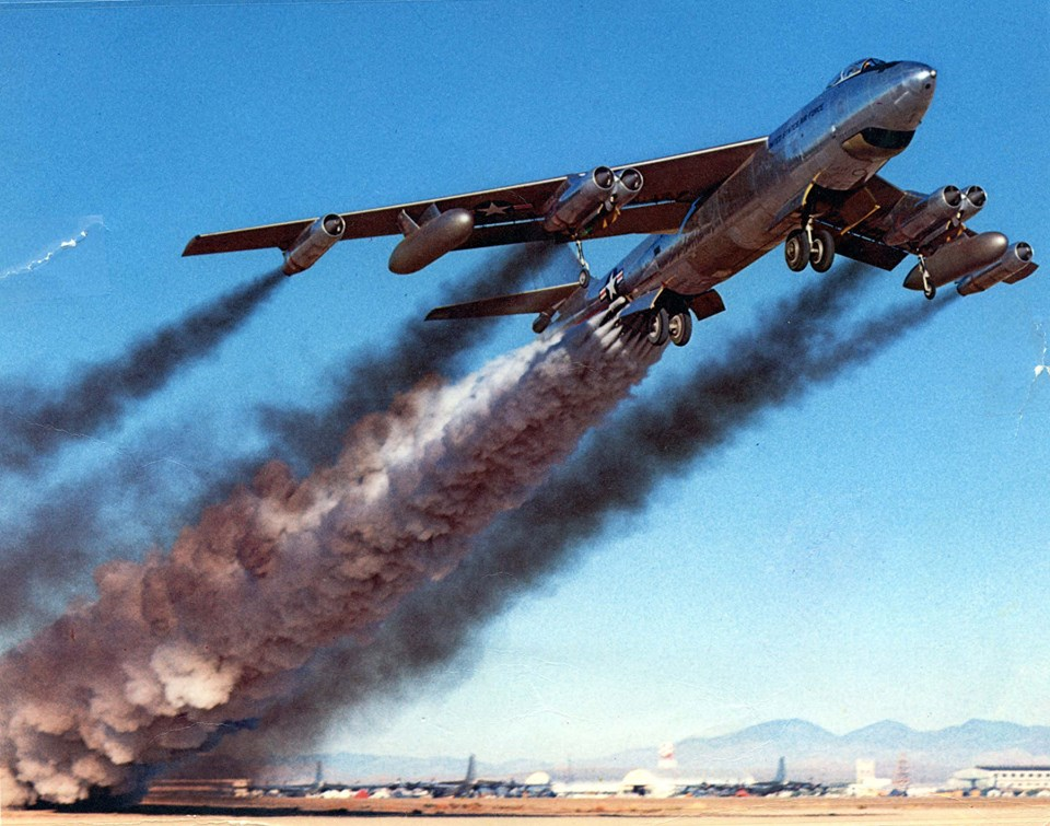 Boeing B-47B rocket-assisted takeoff, 1954 (sorry, environmentalists).)