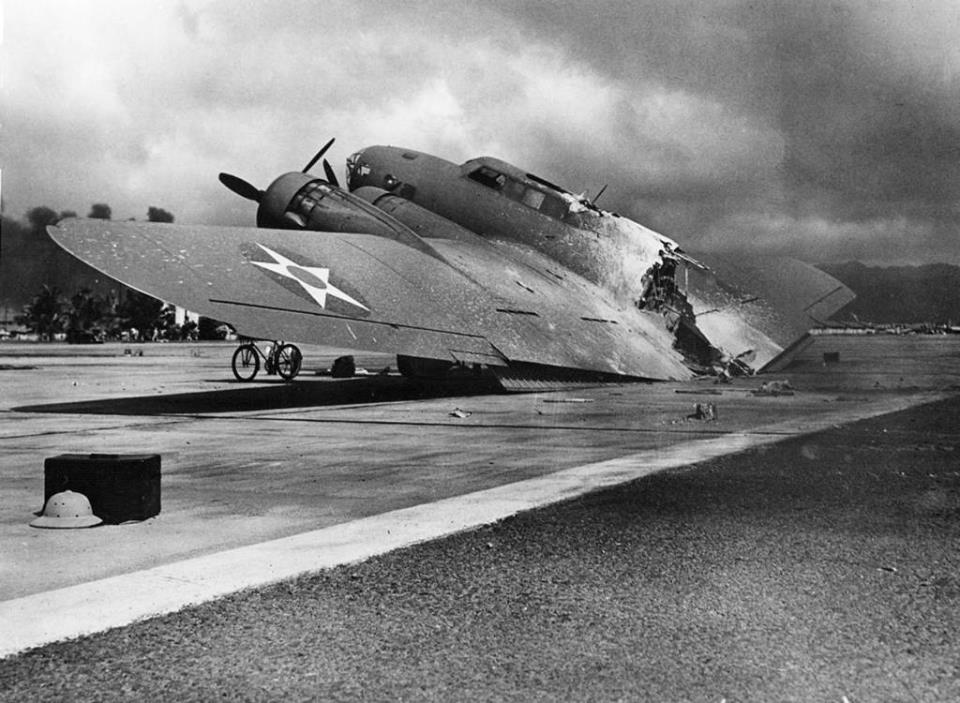 On December 7, 1941, this Army B-17 was hit by Japanese strafing…
