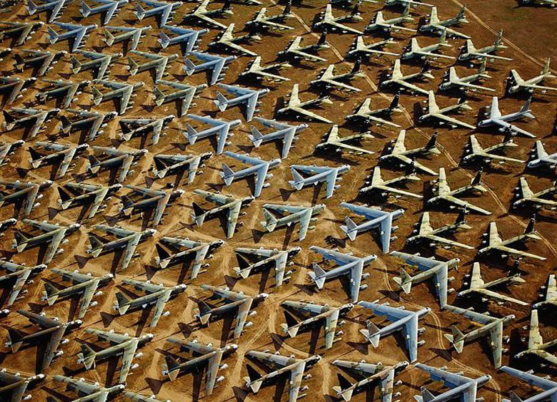 A small percentage of the Boneyard in Tucson (4,200 retired military aircraft awaiting repurposing)