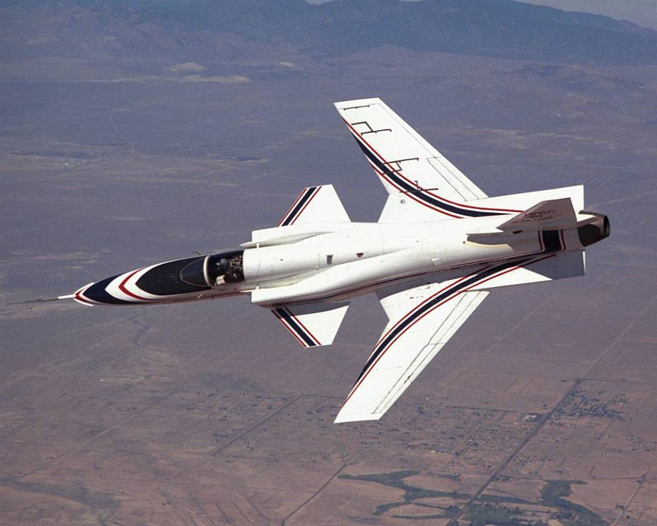 Not Photoshop, an X-29 (experimental forward-swept wing)