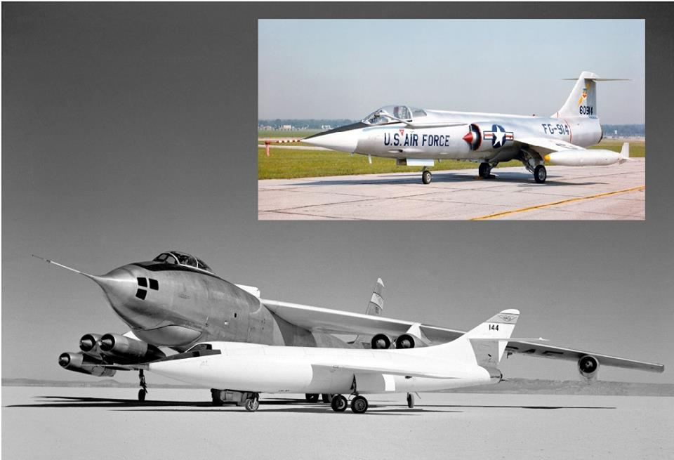 An F-104 Starfigher and its parents