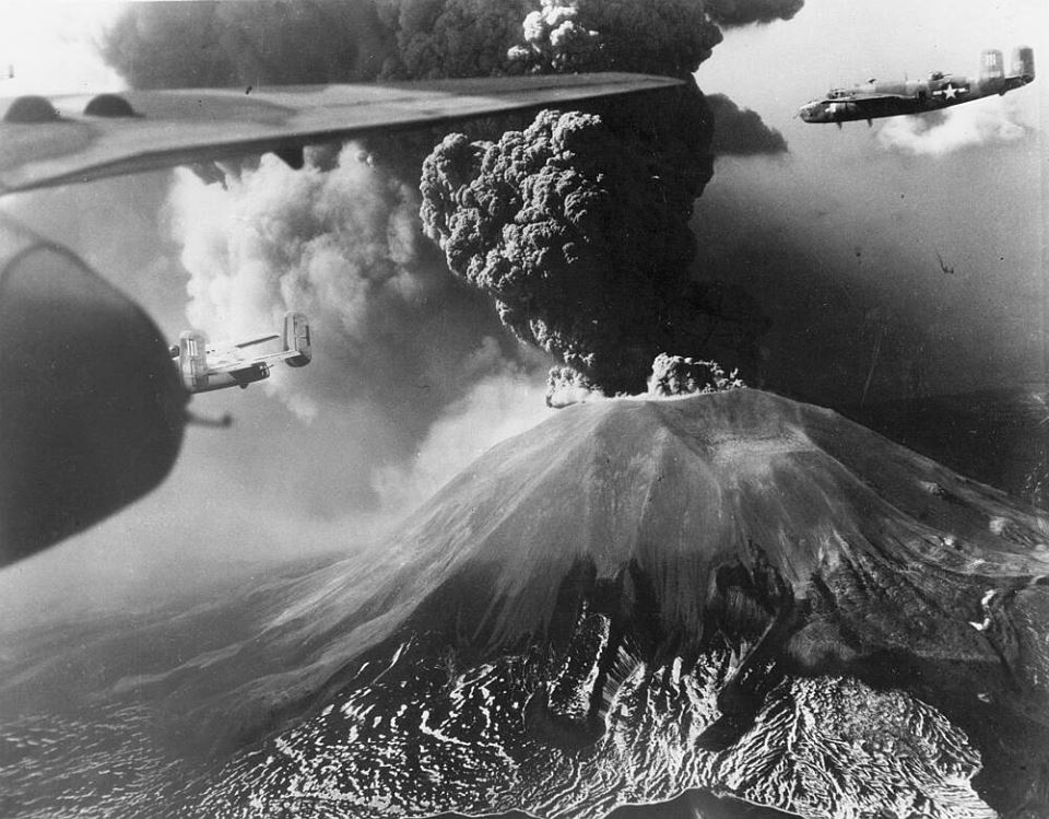 1944 photo of B-25s in Italy. If you look closely, you can see, in the bg, Mt. Vesuvius erupting.