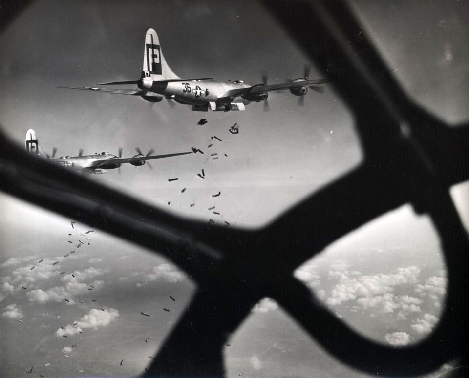 from a B-29's nose…