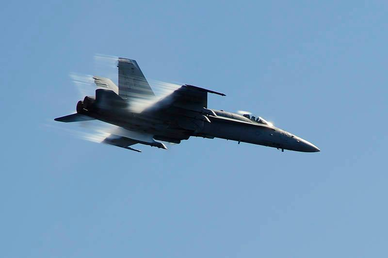 Real-life version of cartoon speed lines: An F/A-18C Hornet assigned to the Wildcats of Strike Fighter Squadron 131