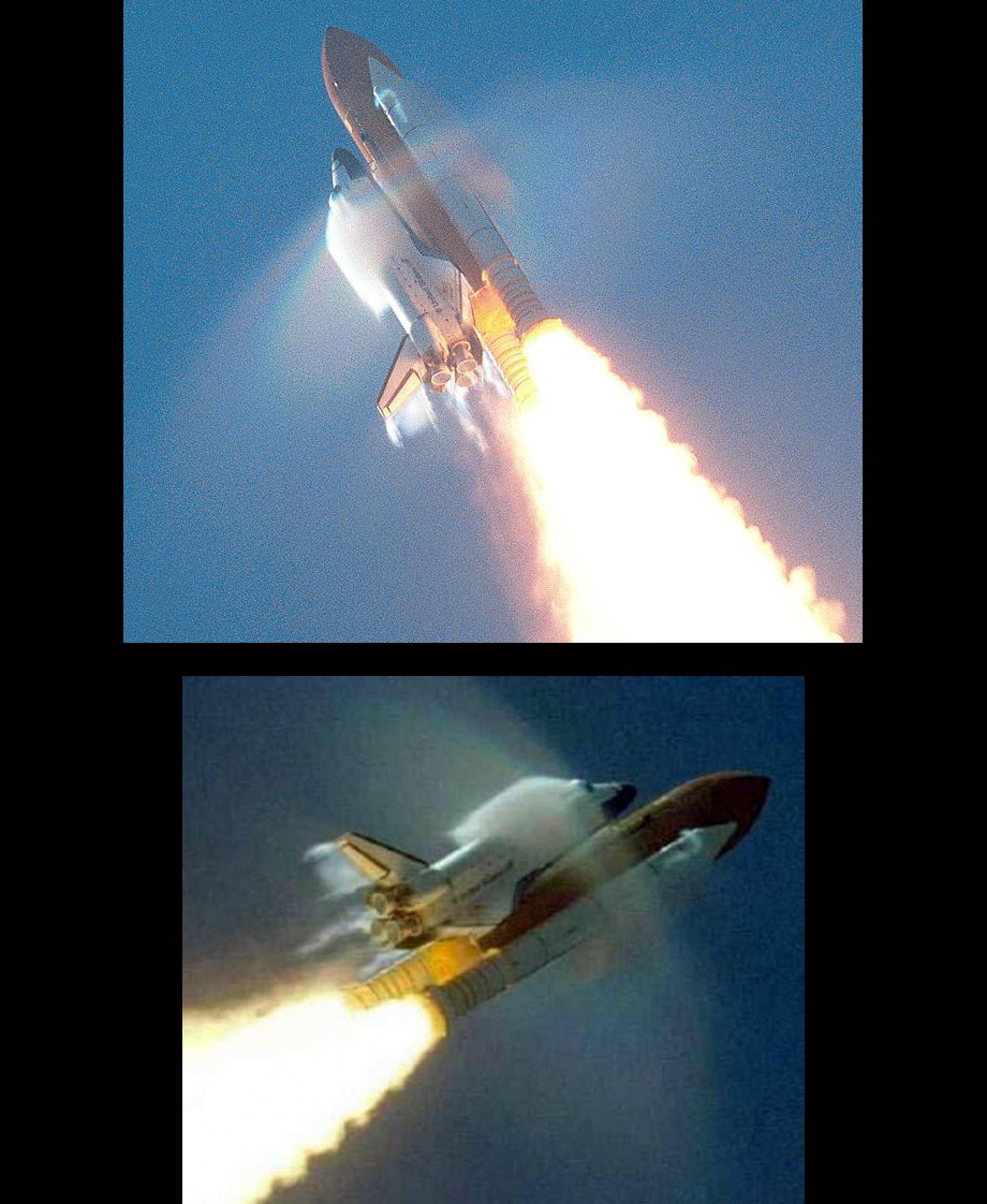 The shuttle tries. Rockets go so fast, the vapor basically can't keep up.