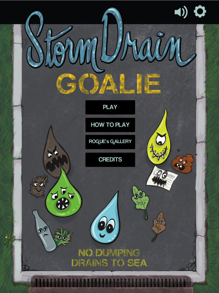 Storm Drain Goalie iPad Game - Home Screen