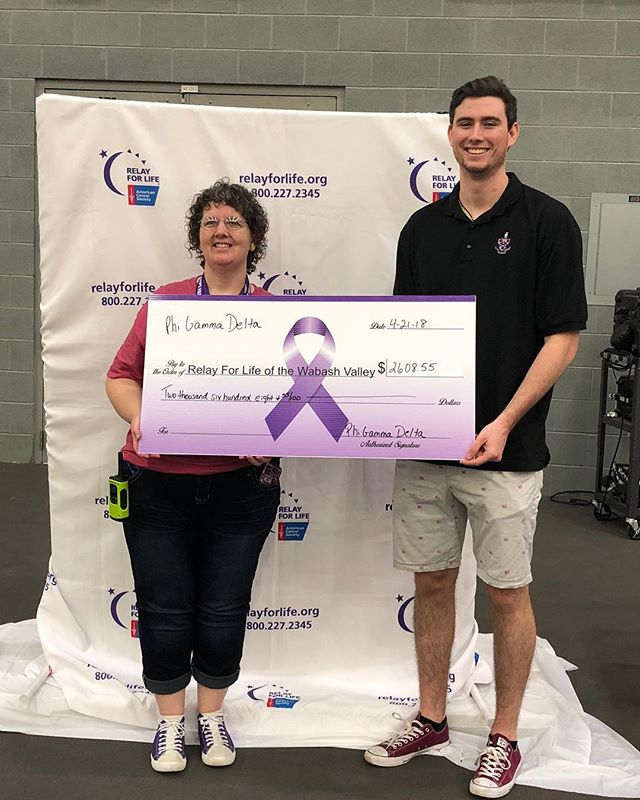 Presenting our check to Relay For Life!
