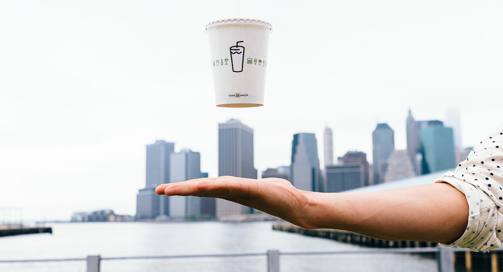Shake Shack Floating Cup in Dumbo Brooklyn