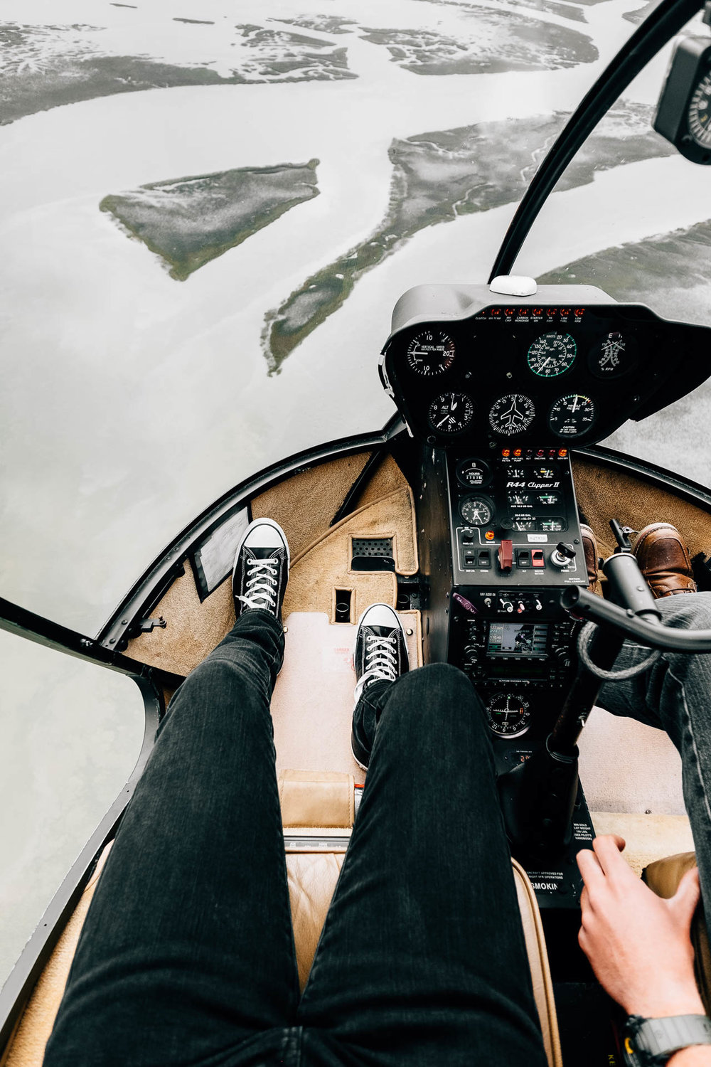 Inside the Helicopter