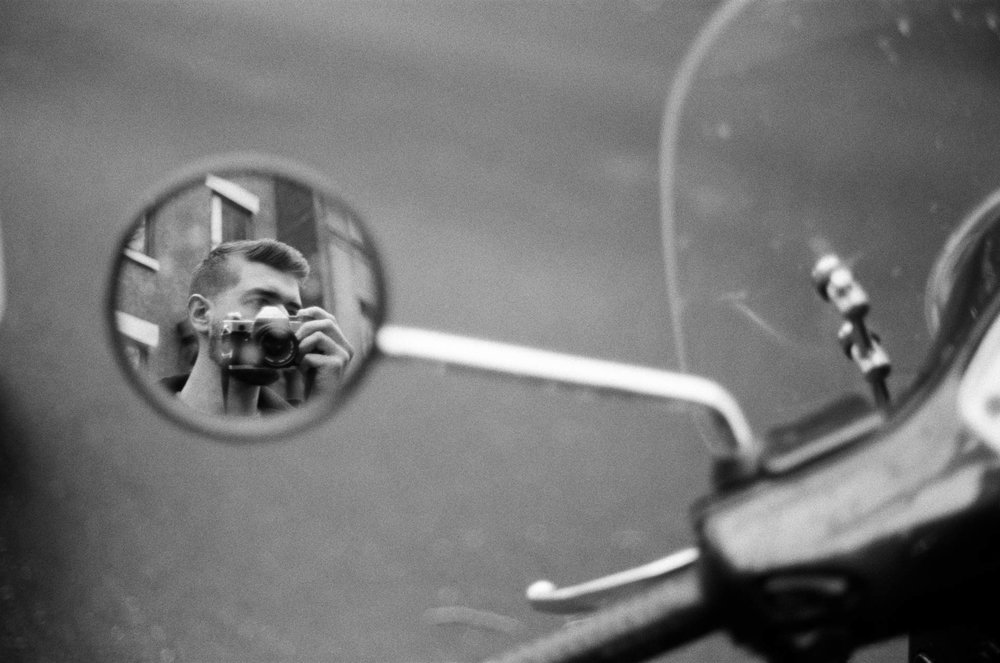 Jonathan Grado in Motorcycle Mirror Selfie