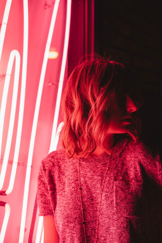 Neon Light Portrait in Brooklyn of Tia Meyers