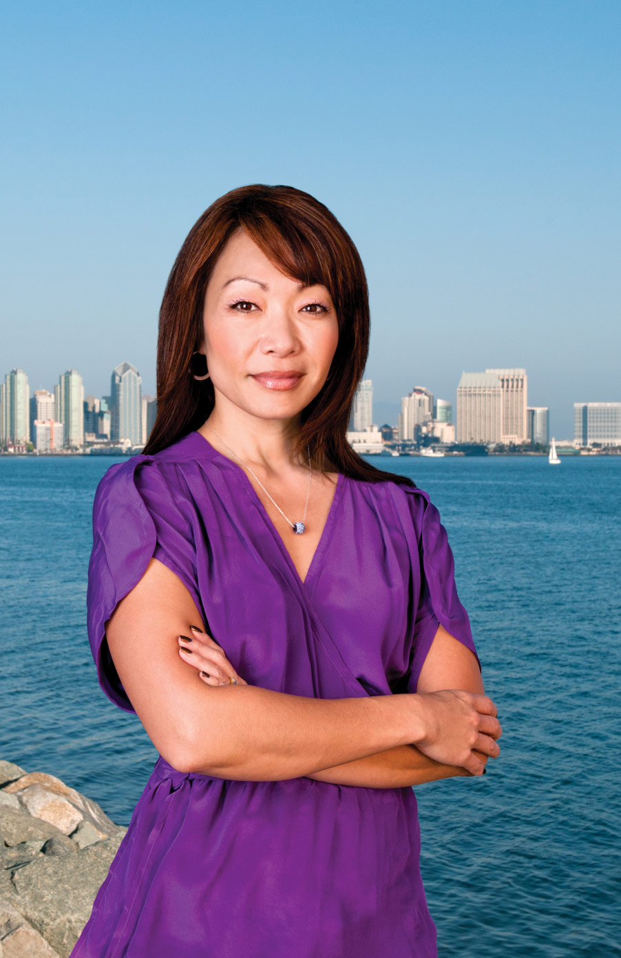 Lee Ann Kim, founder of the Pacific Arts Movement, photographed for the cover of UCSD Extension magazine