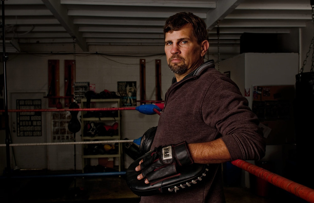 Trainer and former professional fighter Chris Getz at his gym in San Diego, CA
