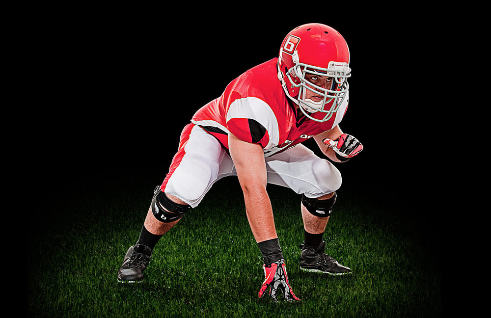 Promotional image for the launch of the Bledsoe NZONE, a football specific knee brace