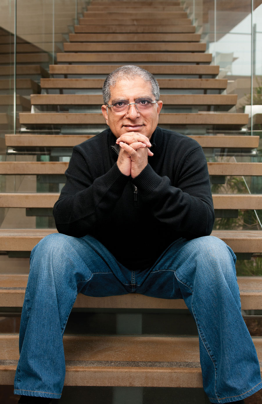 Deepak Chopra photographed for the cover of USCD Extension magazine
