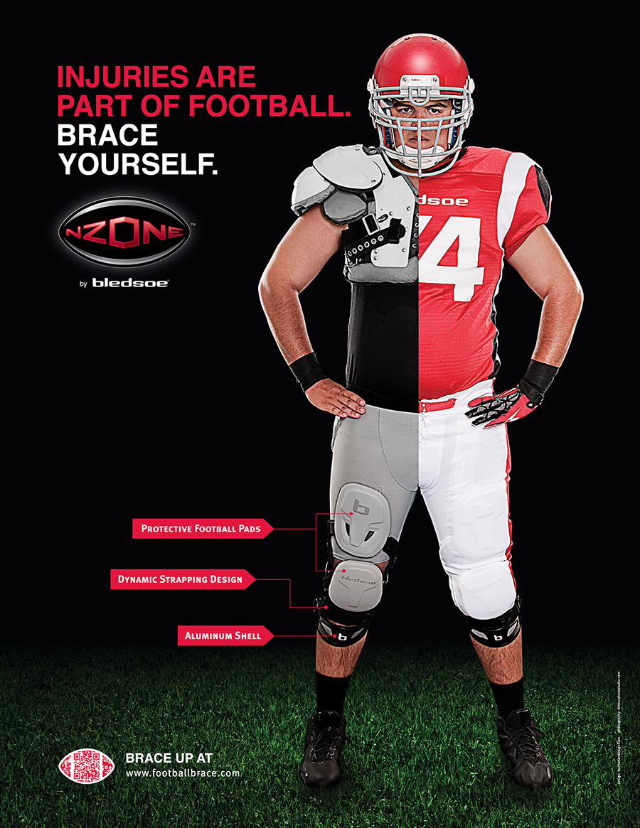 Photography, logo design and layout of Bledsoe NZONE knee brace poster.