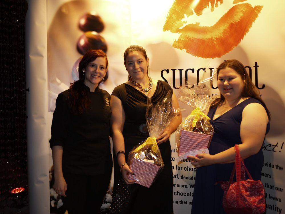 Chef Sandra with our two lucky draw winners of one $75 Basket of Succulent Chocolate Products!