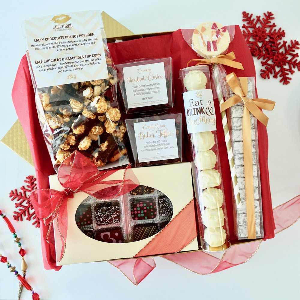 The Gold Standard  -  Our largest gift set features the widest variety of Succulent Chocolates most popular confections. Ideal for those who want a little bit of everything.   $70.00
