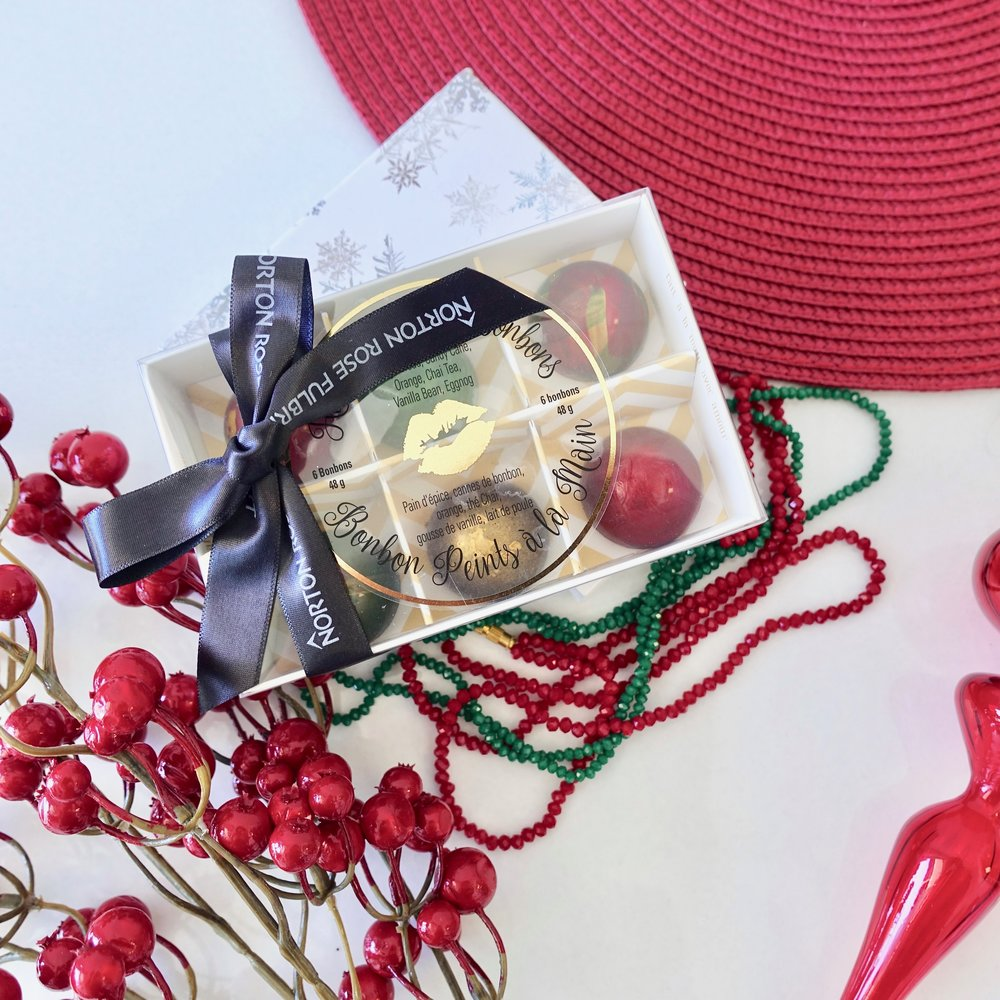 Box of 6 Hand painted Christmas Bonbons $13.50