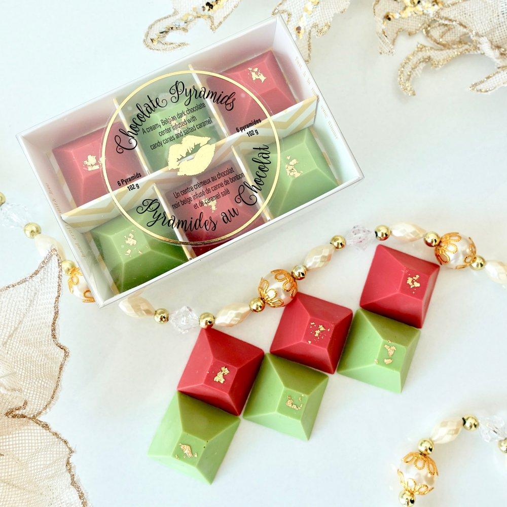 Box of 6 Christmas Chocolate Pyramids $15.00