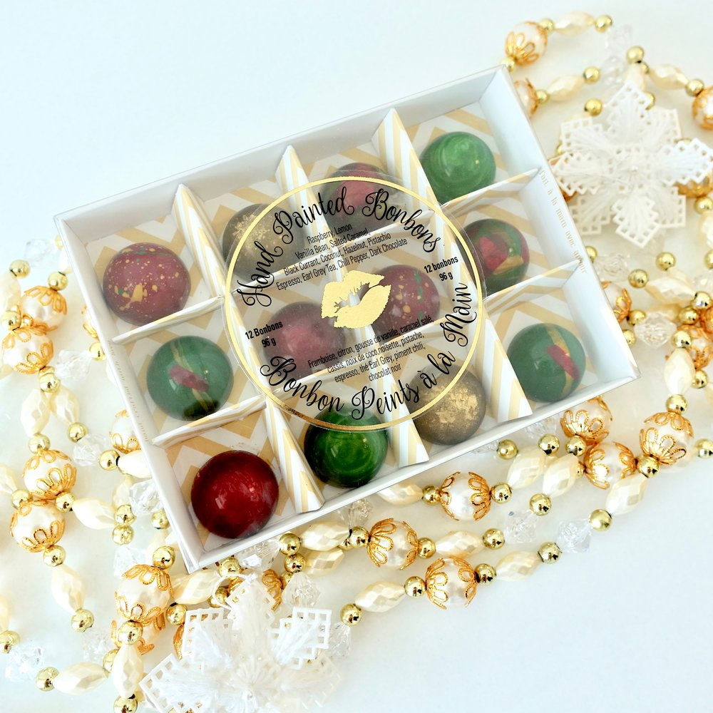Box of 12 Hand painted Christmas Bonbons $25.00