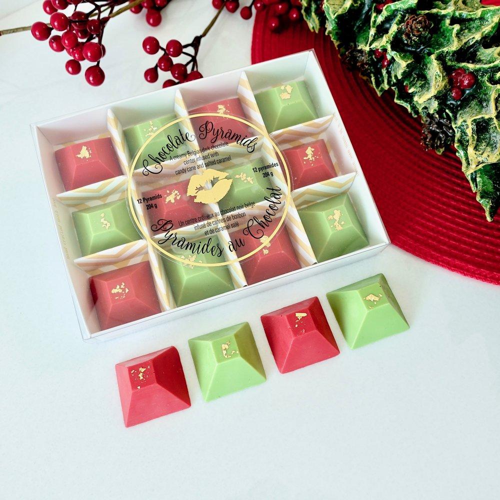 Box of 12 Christmas Chocolate Pyramids   $25.00