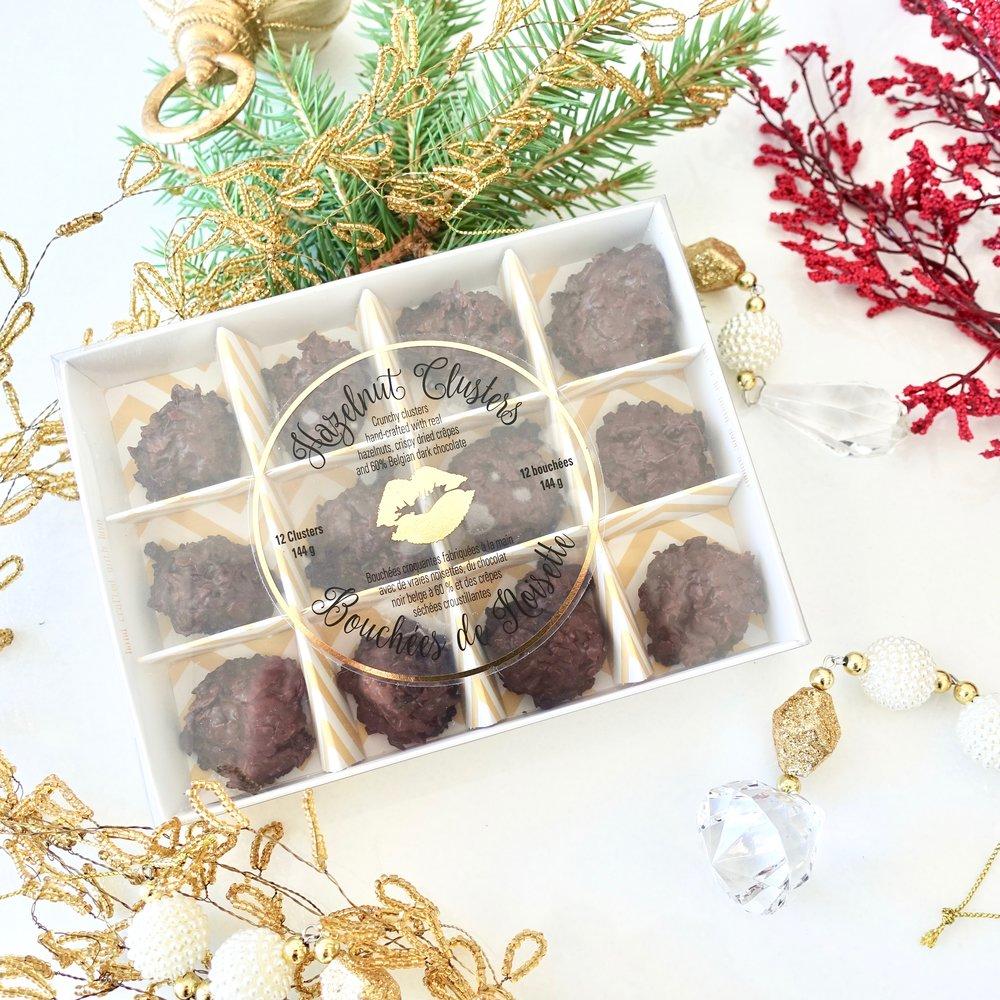 Box of 12 Hazelnut Clusters $15.00