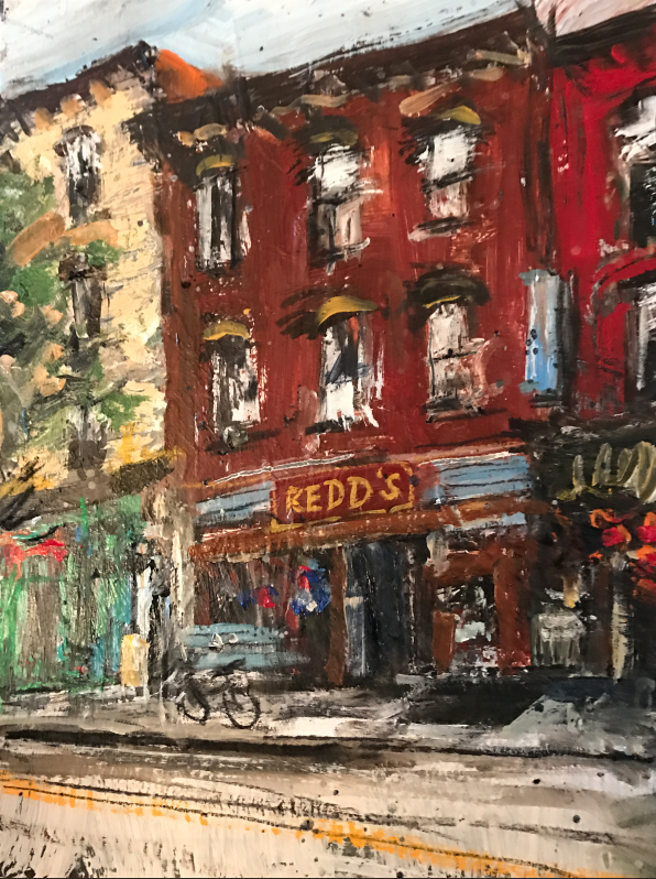 "Redd's Tavern, 12x18""  mixed media on canvas, 2017"