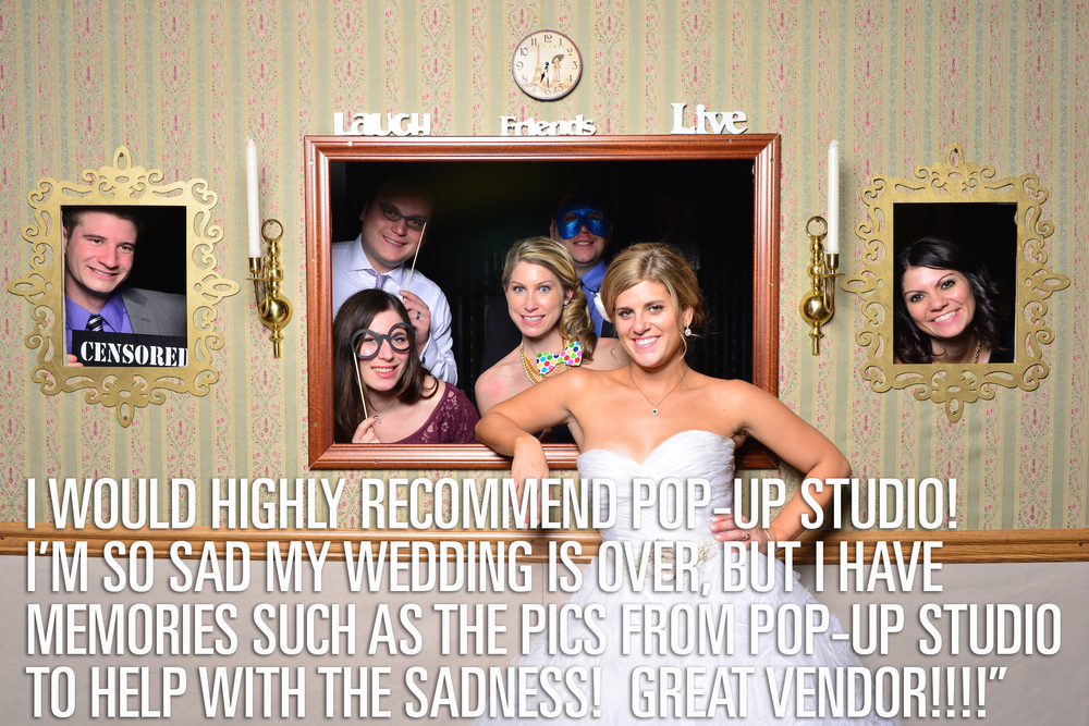 Pop-Up Studio is a twist on the popular photo booths. It allows for more fun backgrounds and more space. Who wants to be crammed in a photo booth? Not me. I like space for group shots. You can choose your background, he can create one, or like us, we created our own and he gave us a small discount since he didn't have to build the background himself. He seemed up for it, but when I told him my dad could do it he said no problem and offered a discount that way. We had unlimited 4X6 pics printed out for people and I think people really liked that. They get an actual picture to take home on the spot. They aren't those long thin small photo booth pics. They are actual 4x6s (more practical), I think the guests loved taking them home. Pop-Up Studio is Detroit based, but traveled to my Chicago wedding for a very reasonable fee. Looking back at my pictures are some of our best memories. We got so many laughs! We were amazed at the people who had their pictures taken. So many! Even people we never would have expected were getting into, with props, etc. Dave is super easy and sweet to work with. I've been at another wedding where he was a vendor at. There were no problems there either! Smooth sailing! I would highly recommend Pop-Up Studio! I'm so sad my wedding is over, but I have memories such as the pics from Pop-Up Studio to help with the sadness! Great vendor!!!!  --- Megan, Bride.