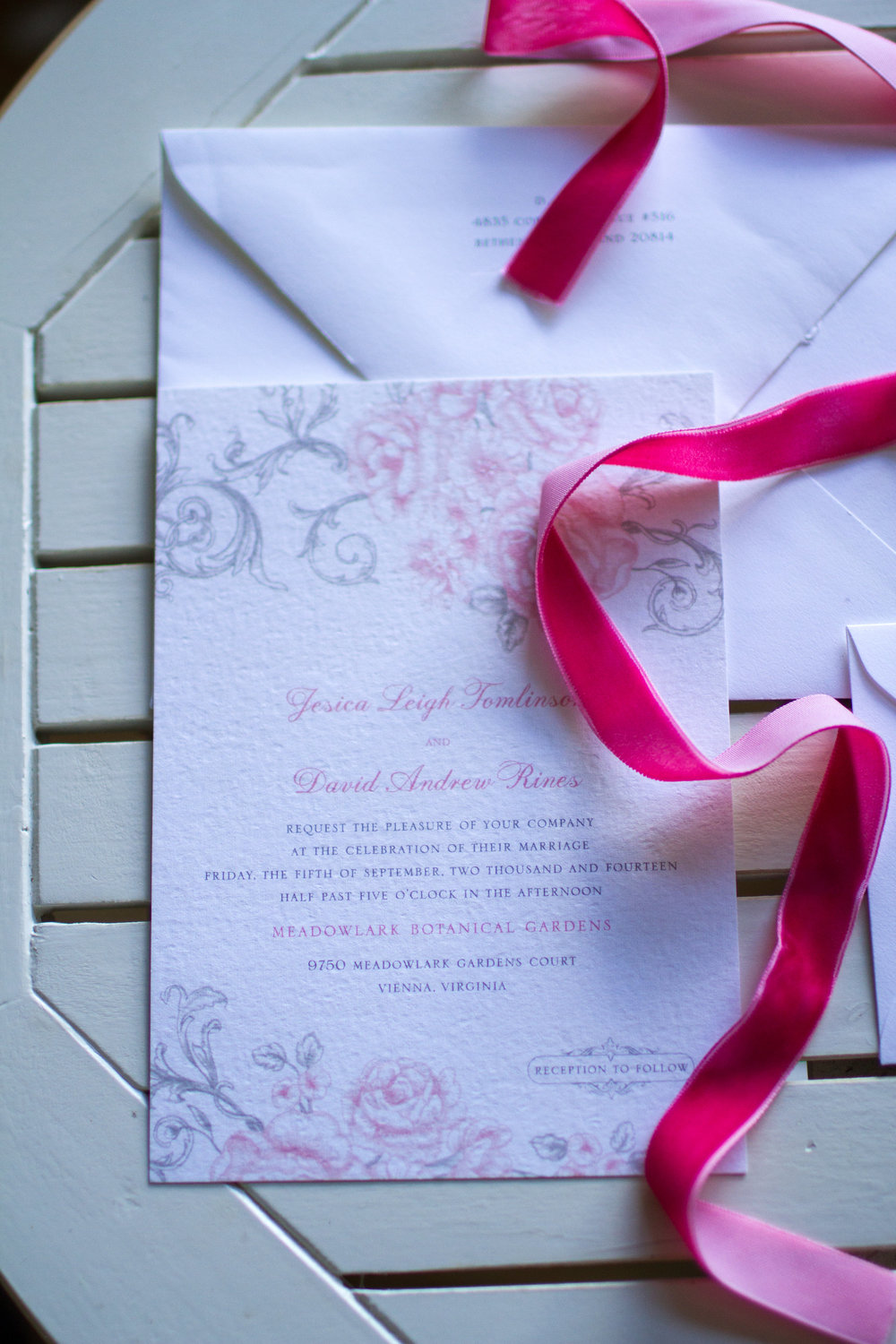 Wedding invitation suite Meadowlark Botanical Garden Wedding