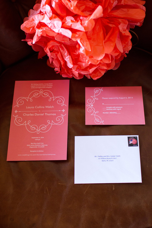 Coral wedding stationery