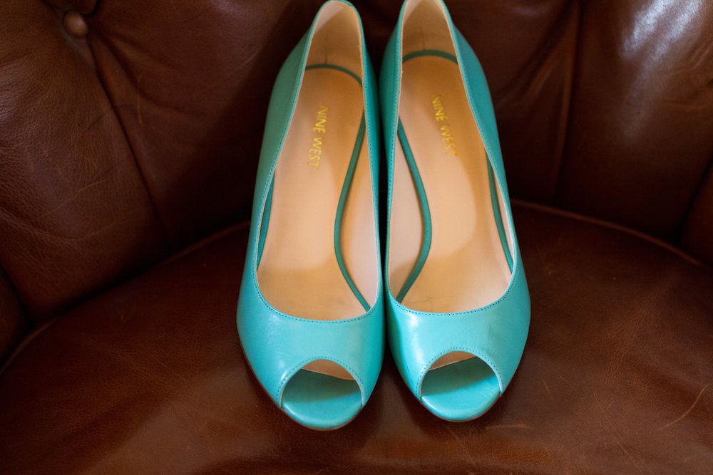 Turquoise wedding shoes | Bull Run Golf Club Wedding | Haymarket Wedding Photographer