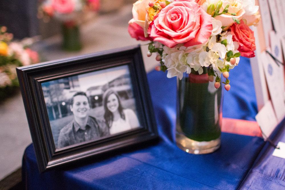 Navy and coral wedding reception details | Bull Run Golf Club wedding